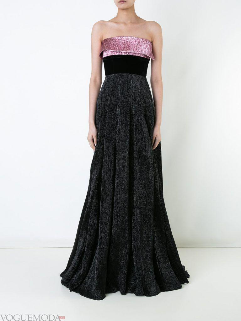 вечернее платье без бретелей двухцветное