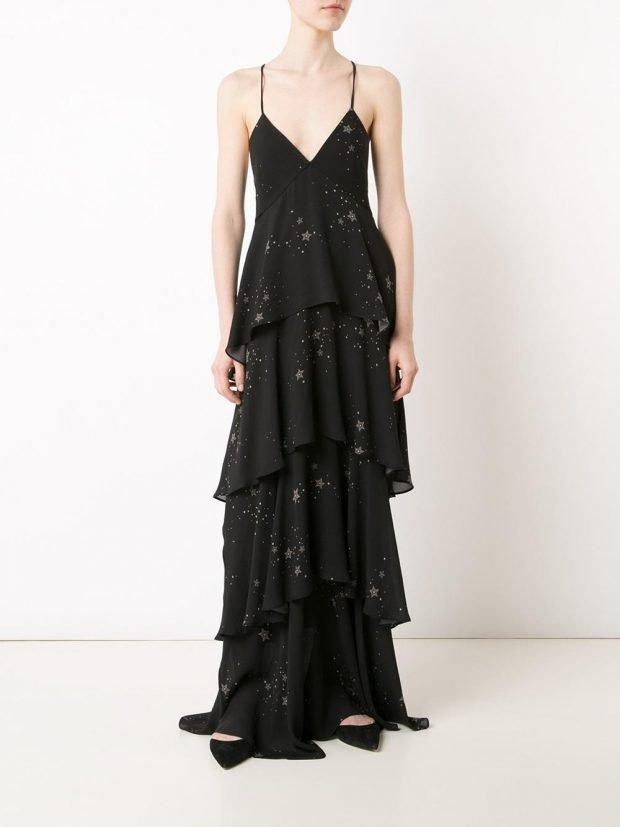 Модные вечерние платья: многослойное