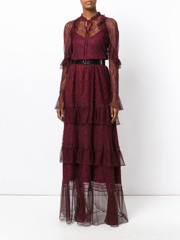 Модные вечерние платья: бордовое