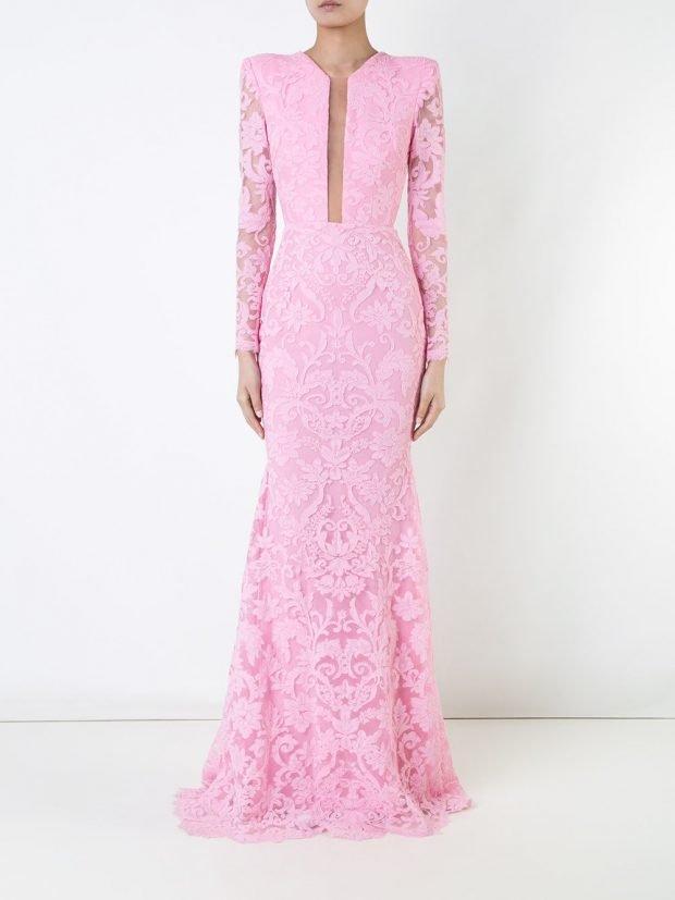 Модные вечерние платья 2020 2021: розовое кружевное длинное