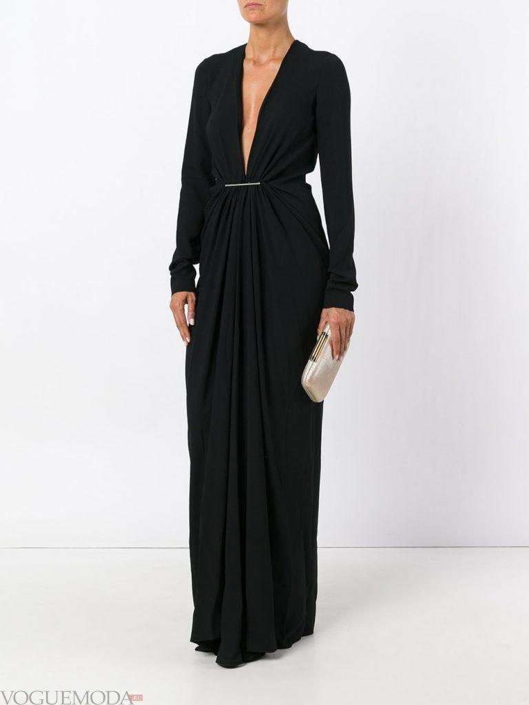 вечернее черное платье с вырезом