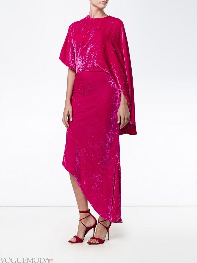 асимметричное вечернее платье бархатное