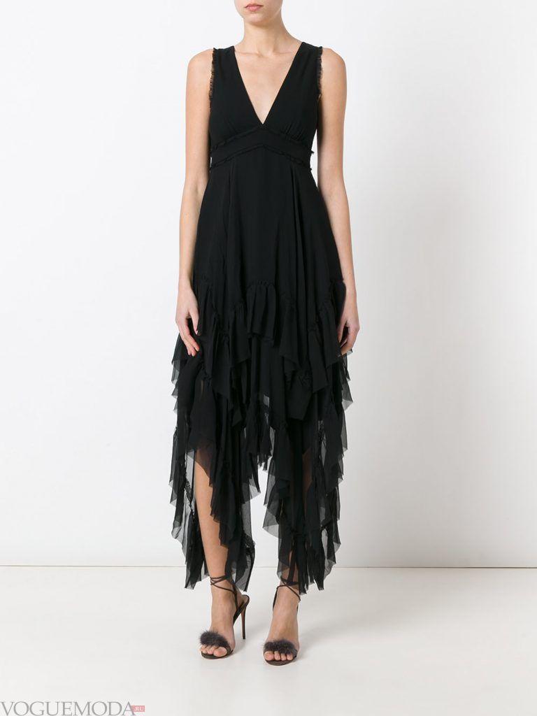 асимметричное вечернее платье черное