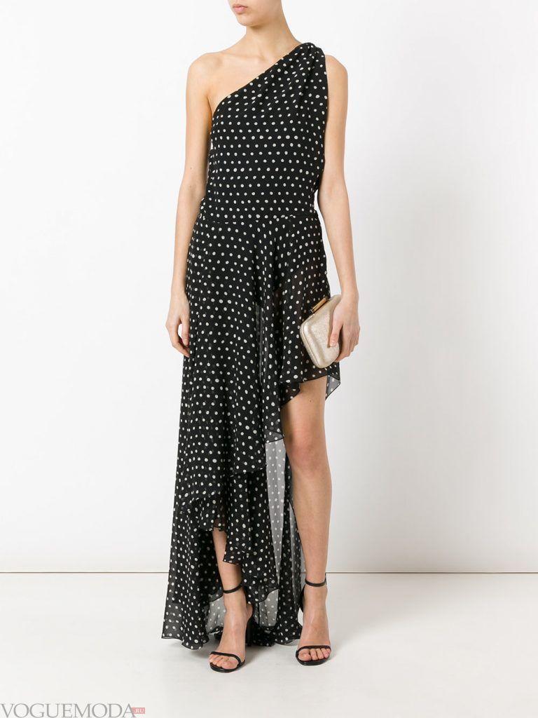 асимметричное вечернее платье с принтом