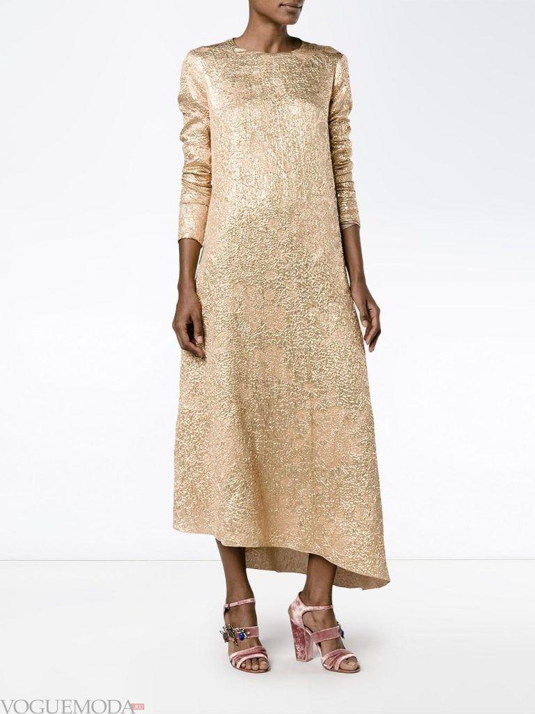 асимметричное вечернее платье бежевое