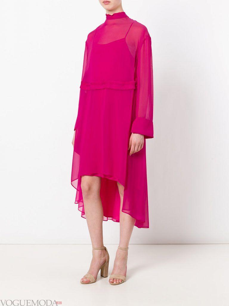 асимметричное вечернее платье розовое