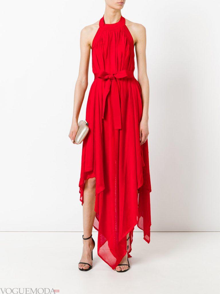 асимметричное вечернее платье алое