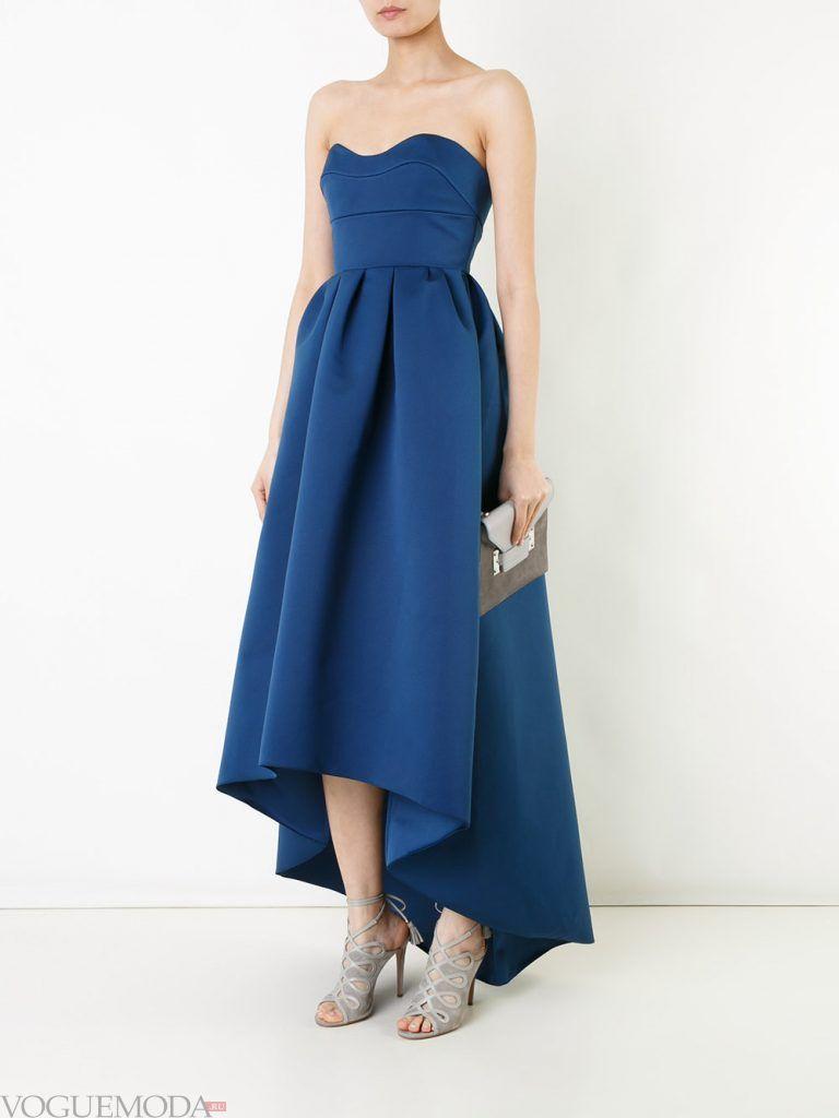 асимметричное вечернее платье синее