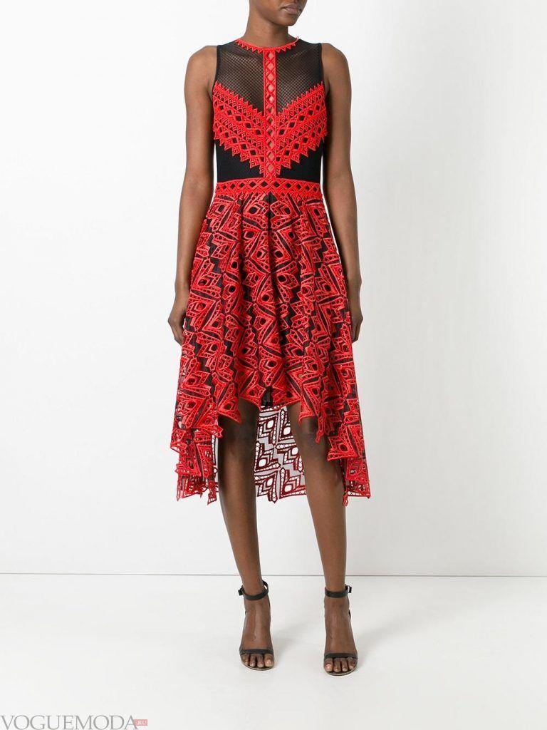 асимметричное вечернее платье кружевное