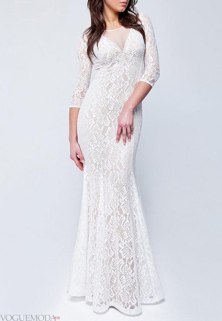 вечернее платье для полных белое