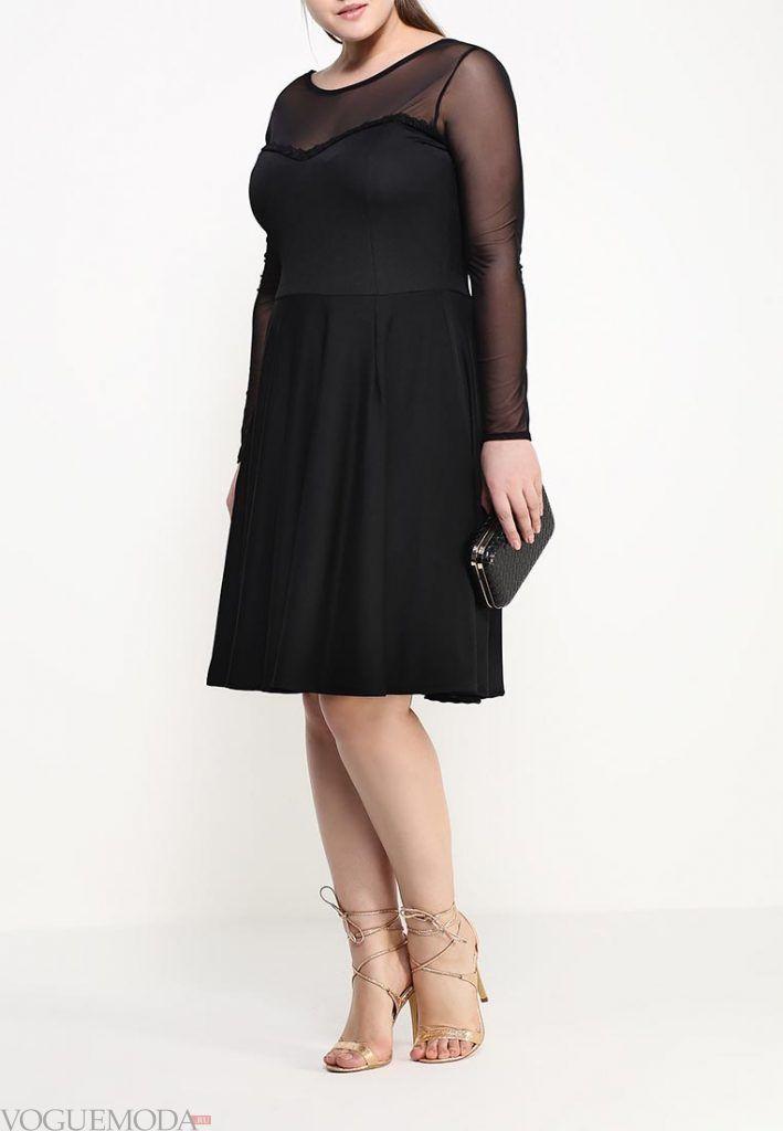вечернее платье для полных черное