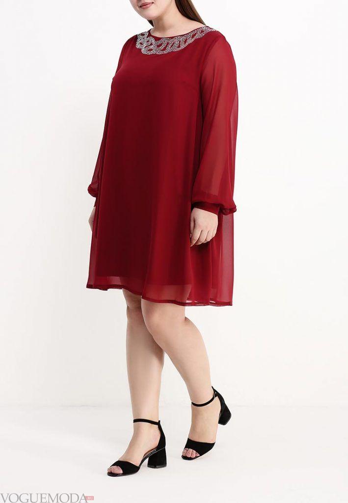 вечернее платье для полных бордо