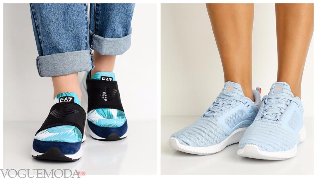 модные кроссовки голубые