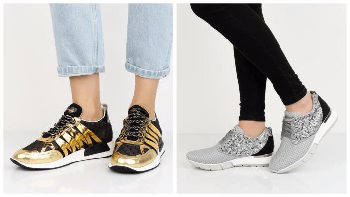 модные кроссовки золото и серебро