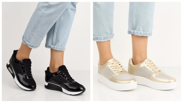 черно-золотые кроссовки на платформе весна лето 2020
