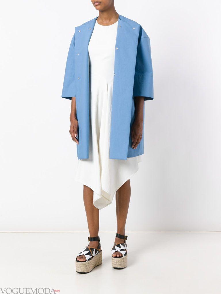 пальто «оверсайз» голубое