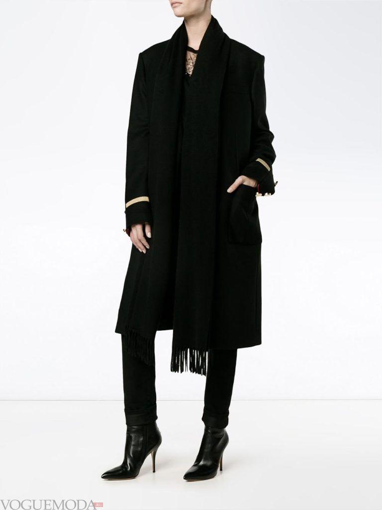 пальто в стиле милитари темное