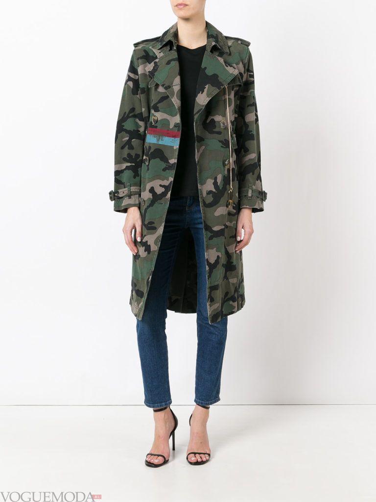 пальто в стиле милитари длинное