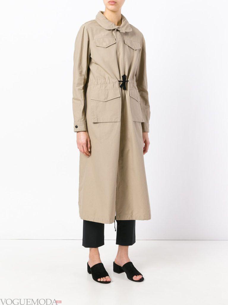пальто в стиле милитари беж