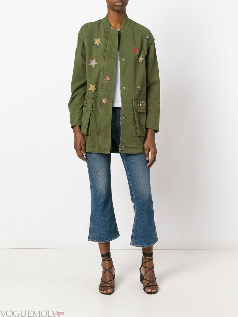 пальто в стиле милитари оливковое