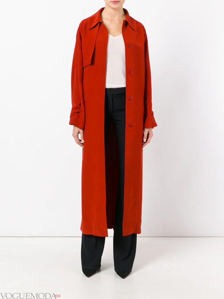 длинное пальто красное