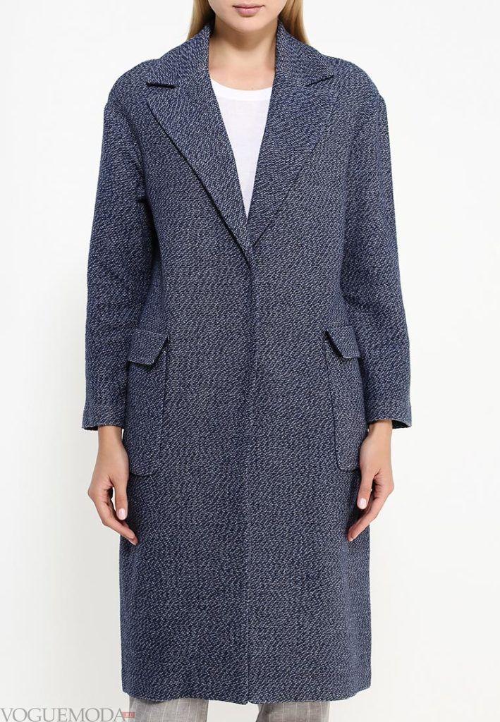 длинное пальто серое