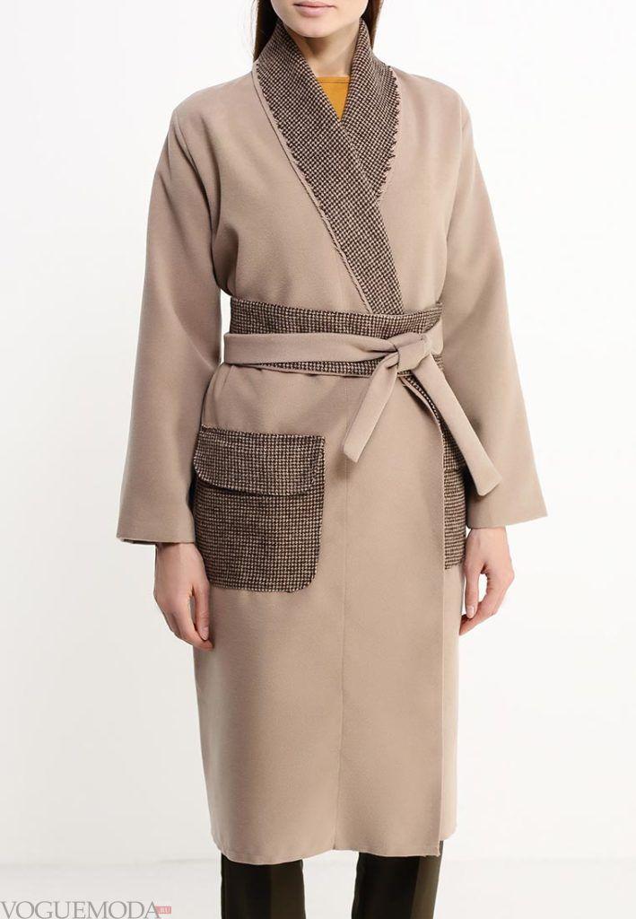 длинное пальто с декором