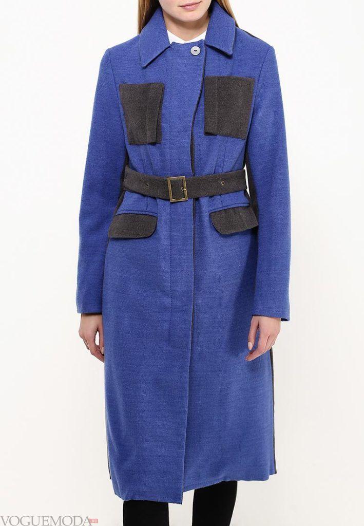 длинное пальто синее