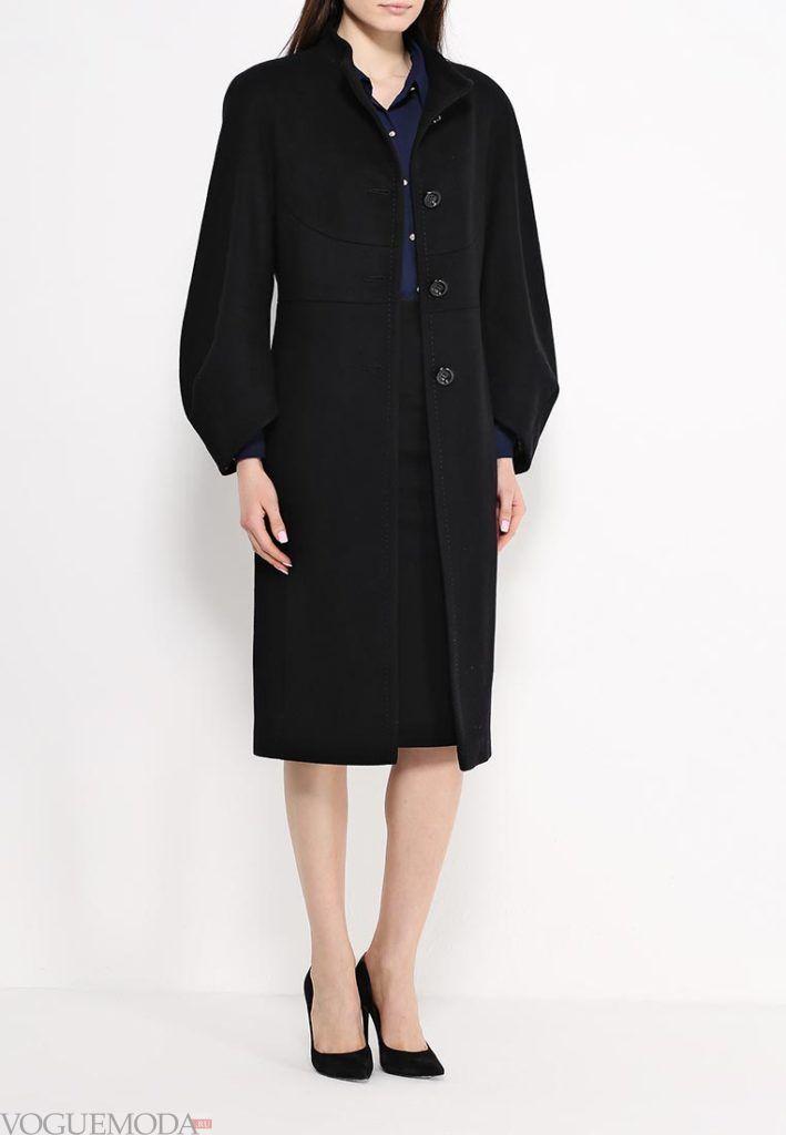 длинное пальто черное