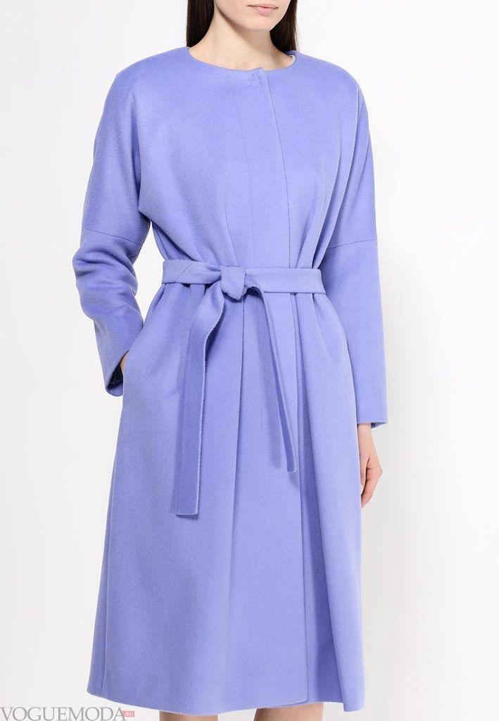длинное пальто фиолетовое