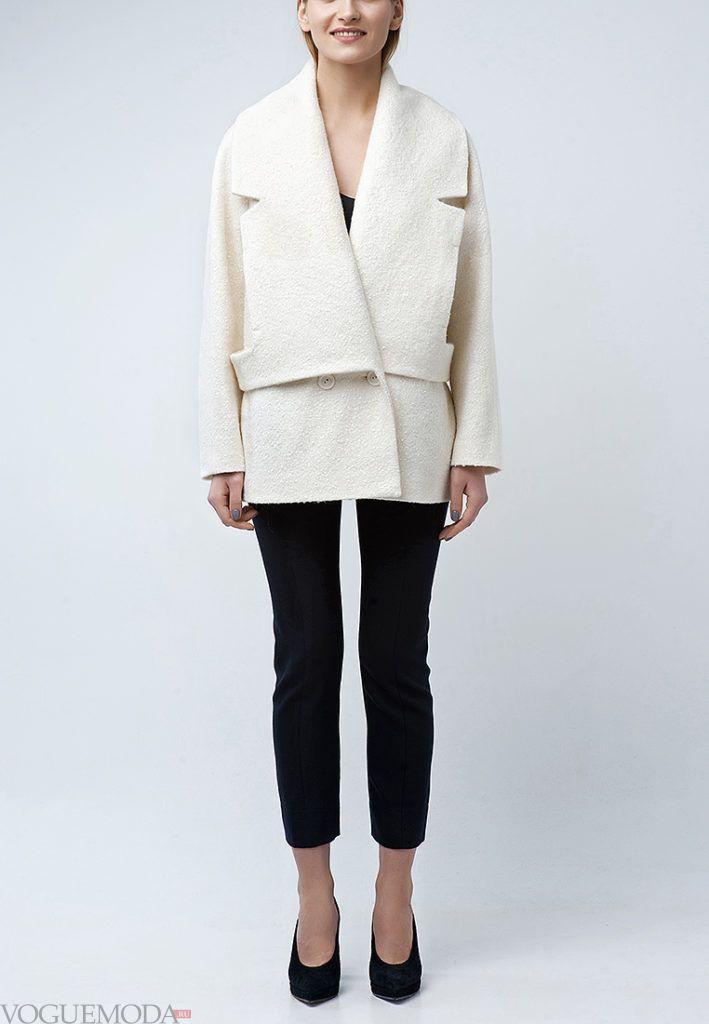 короткое пальто белое