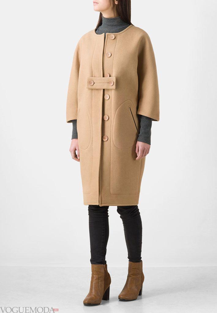 пальто с укороченным рукавом беж
