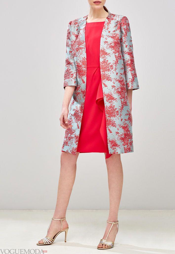 пальто с укороченным рукавом с принтом