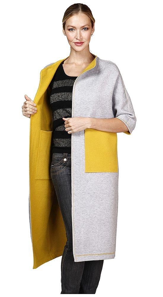 пальто с укороченным рукавом двухцветное