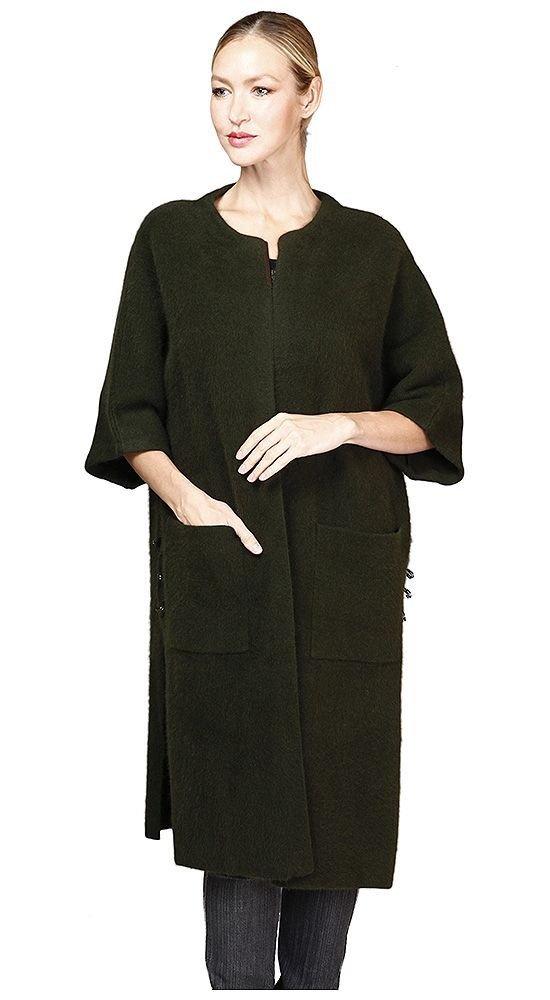 пальто с укороченным рукавом черное