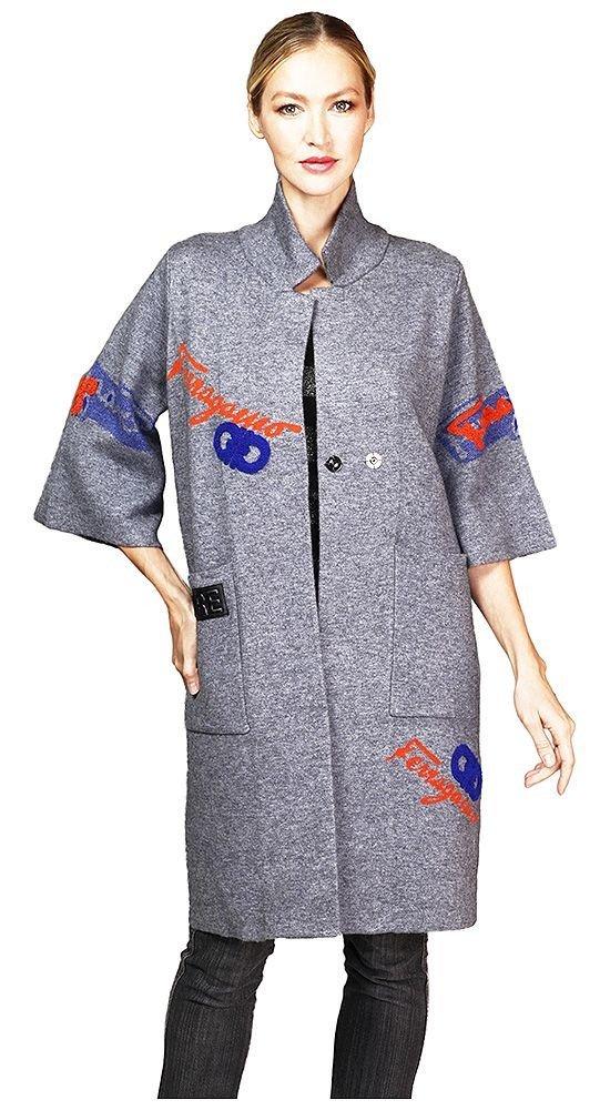 пальто с укороченным рукавом серое