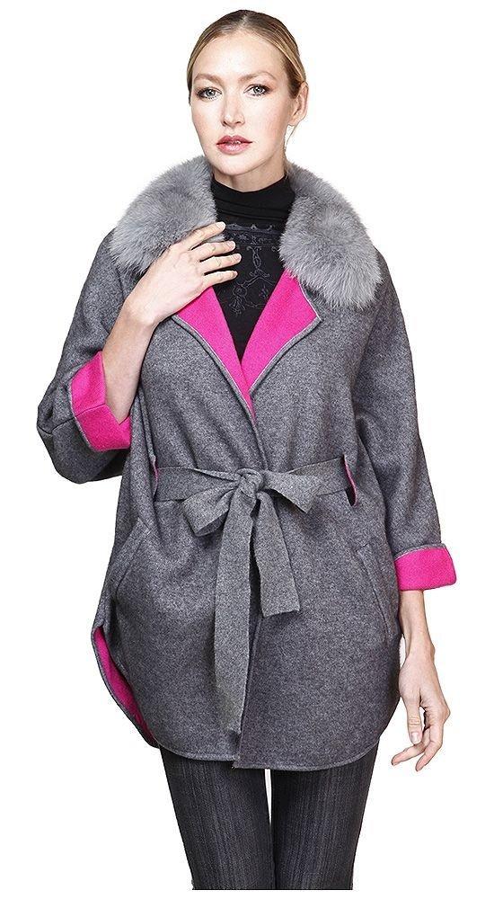 пальто с укороченным рукавом с мехом