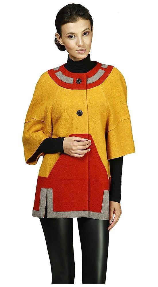 пальто с укороченным рукавом разноцветное