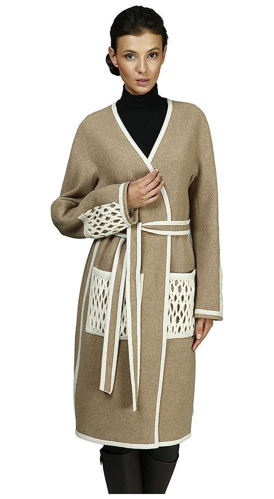 модное пальто с вставками