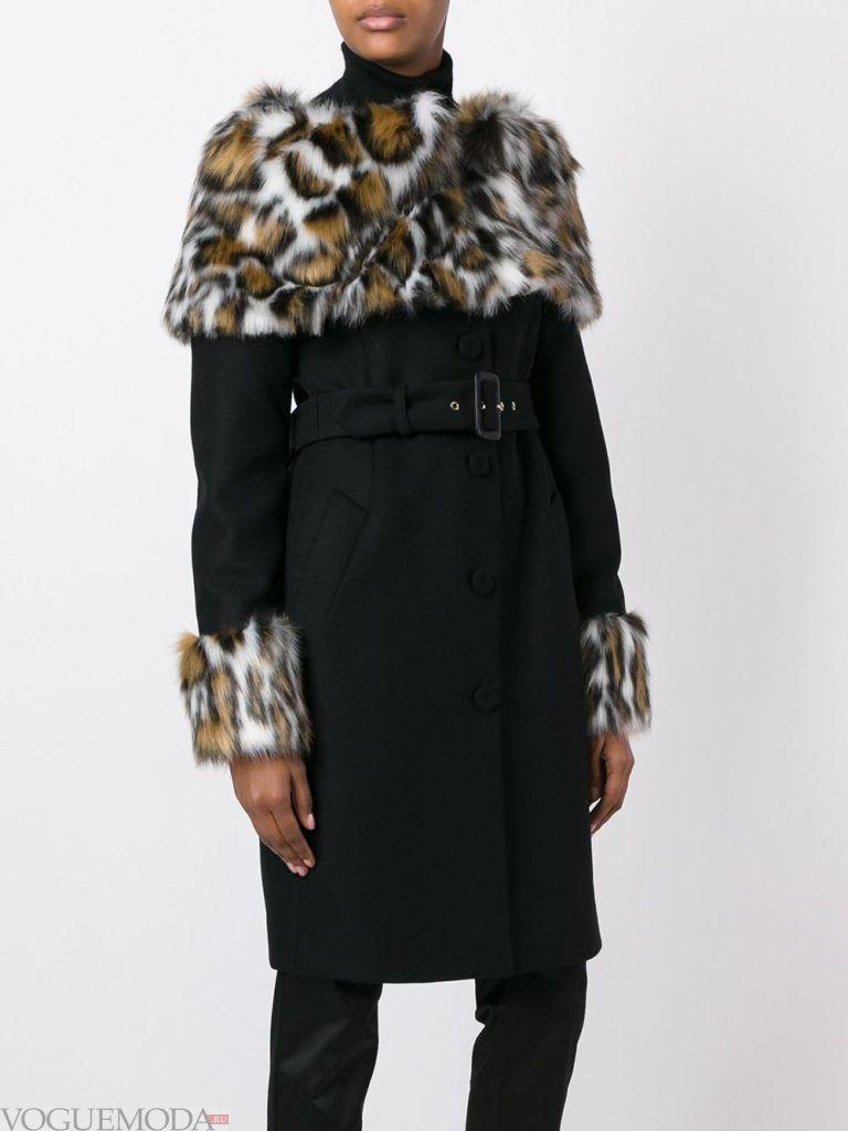 пальто с леопардовым мехом