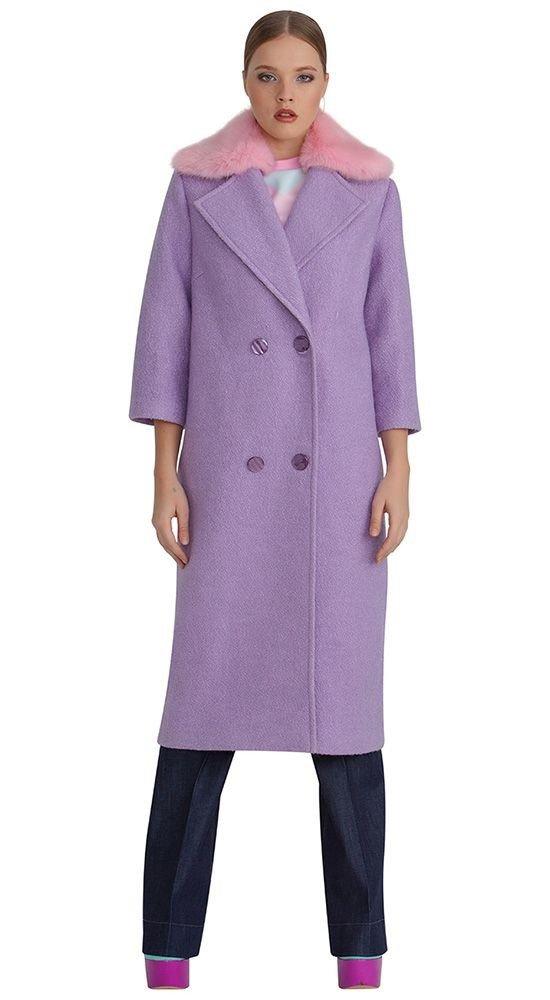 модное пальто лиловое