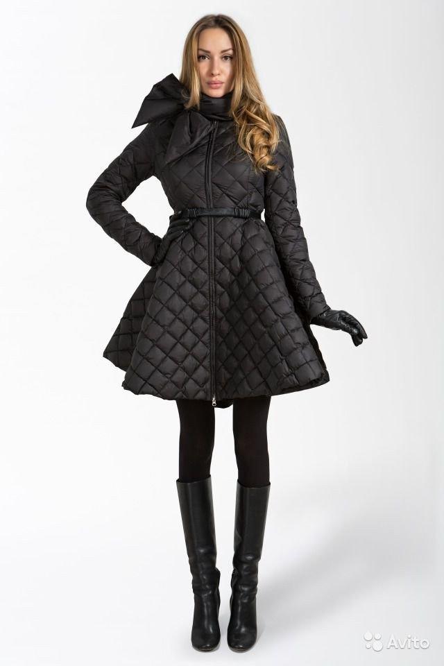 пуховик платье черный