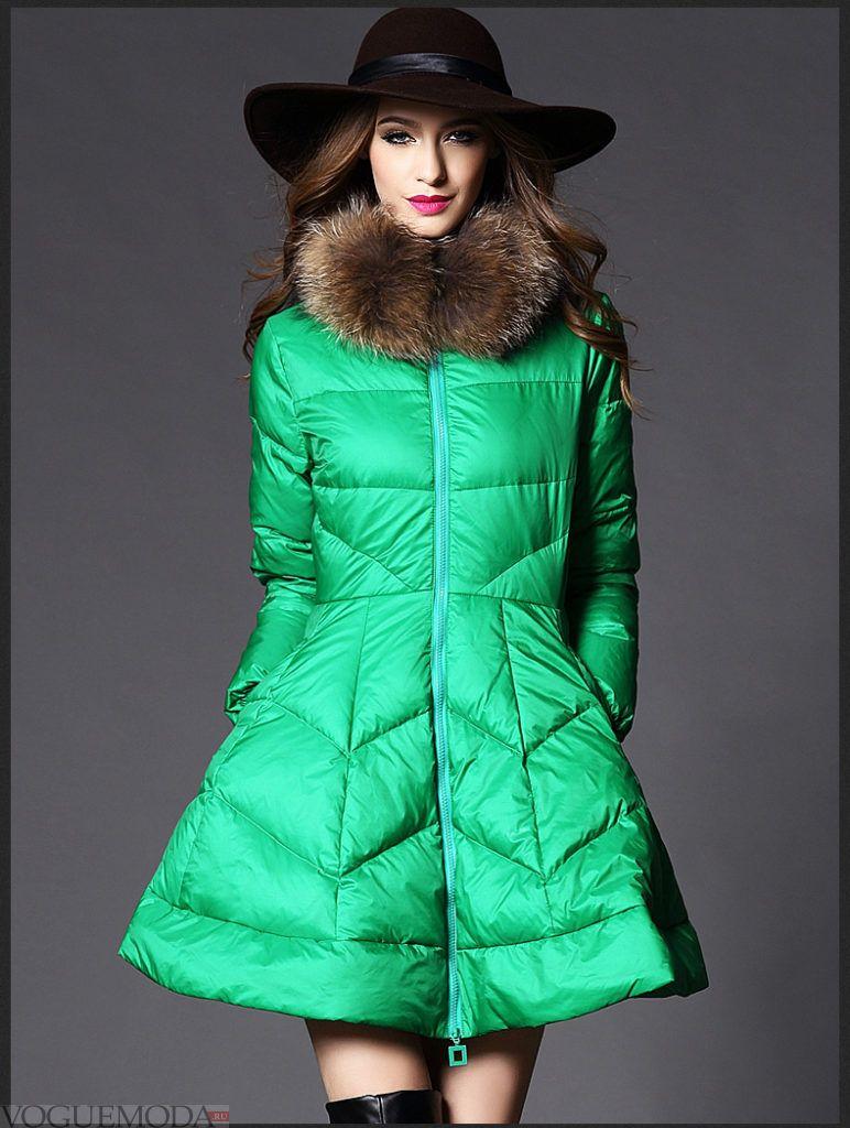 пуховик платье зеленый