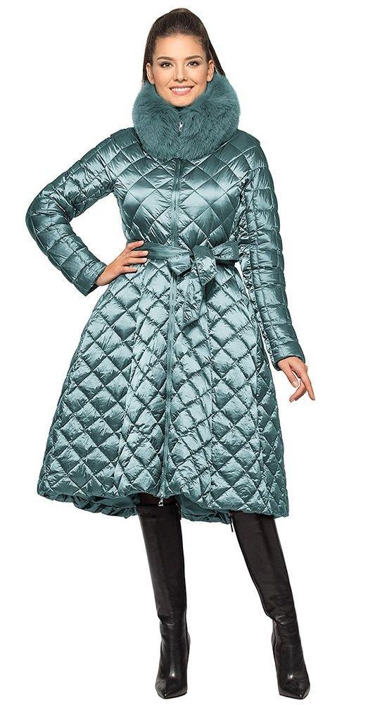пуховик платье серый