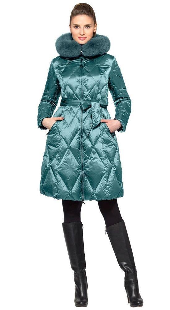 пуховик платье с поясом