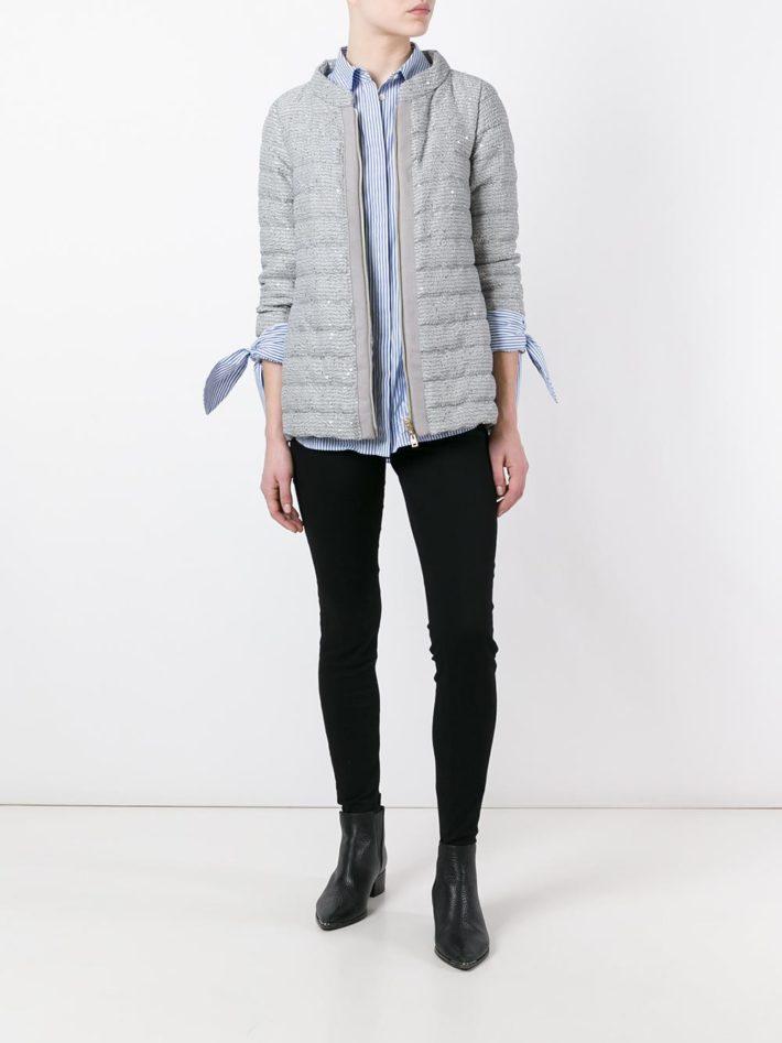 Модные пуховики осень зима: серый