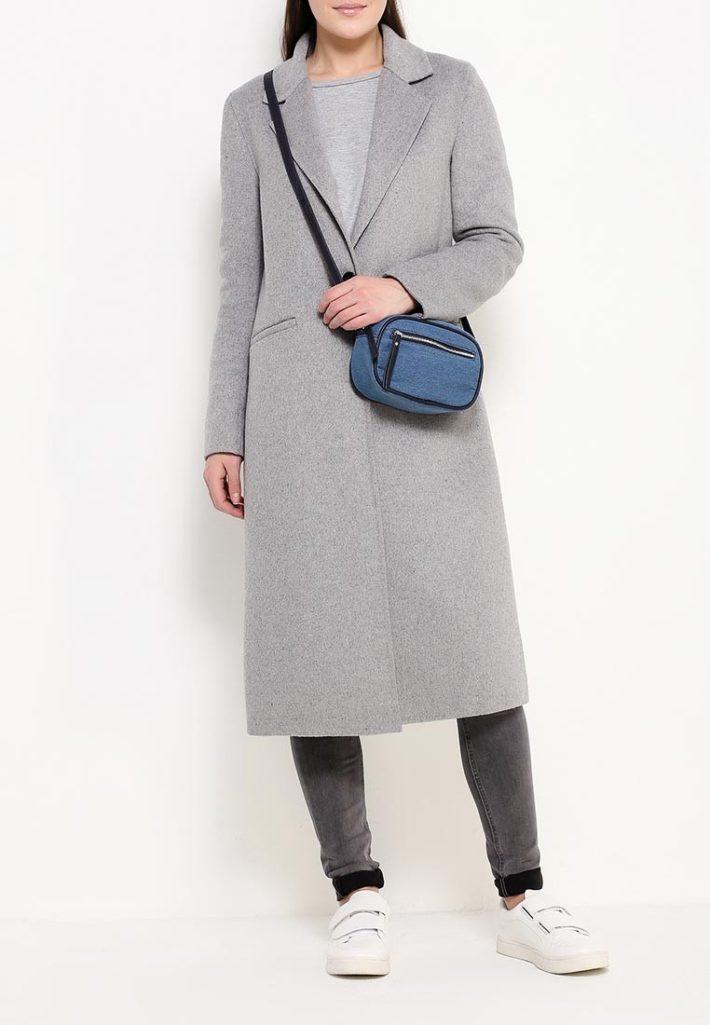 модное пальто серое