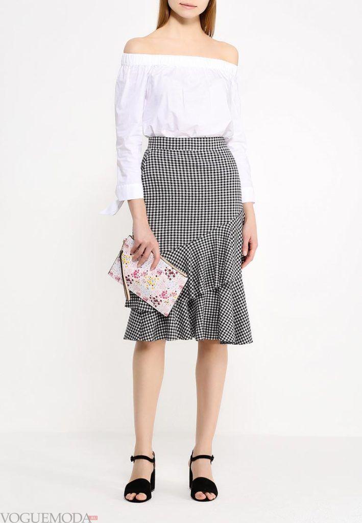 модная юбка серая