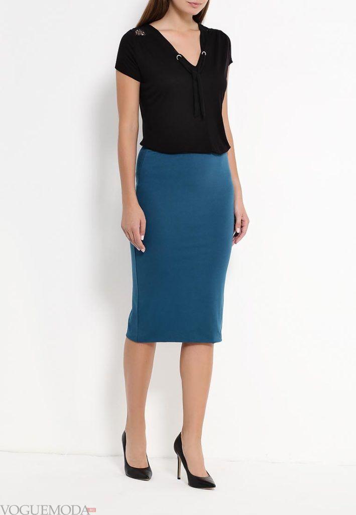 модная юбка синяя