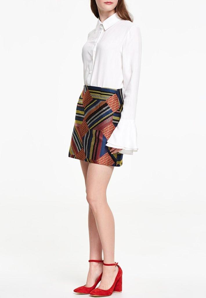 модная юбка с принтом